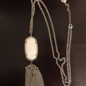 Kendra Scott pearl white and silver necklace